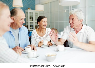 Group of friendly senior people gathered in cafe for talk by cup of coffee
