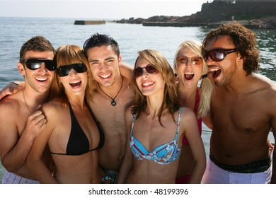 Group of friends at the beach