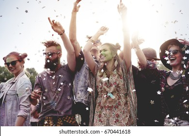 Group of friends celebrating party together