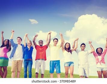 Group Friends Celebration Winning Victory Fun Concept