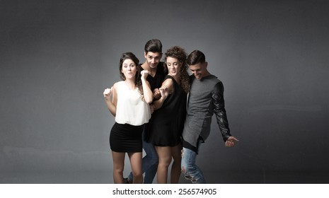 group of friends dancing