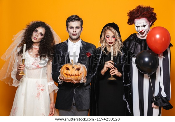 Halloween Group Costumes Scary.Group Friends Dressed Scary Costumes Celebrating Stock Photo