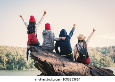 Group of friends enjoy in nature , Relax time on holiday concept ,selective and soft focus,tone of hipster style