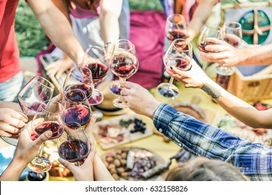 Group of friends enjoying picnic while drinking red wine and eating snack appetizer outdoor - Young people cheering and having fun together - Focus on left bottom hands glasses