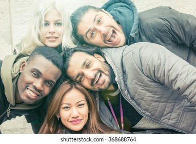 Group of friends faces composition. Simple portrait concept with people of different ethnicity