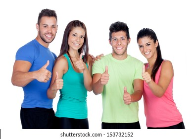Group of friends with fitness clothes saying Ok isolated on a white background