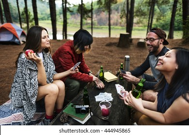 Group of Friends Hanging Playing Cards Together Concept