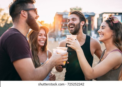 Group of friends having fun together