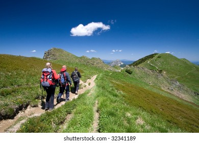 Group of friends hiking in Mala Fatra in Slovakia