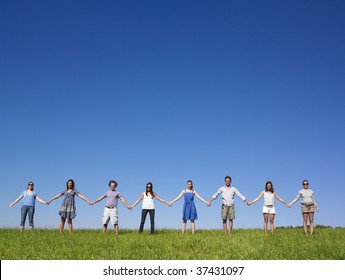 Group of friends holding