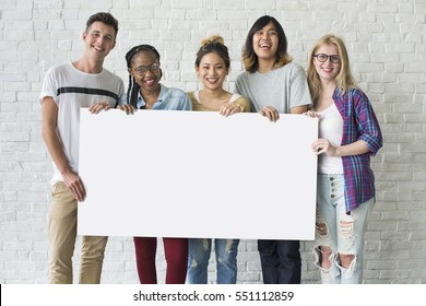 Group of Friends Holding Blank Banner
