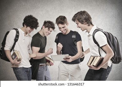 group of friends looking at the results cheers