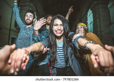 Group of friends making party outdoor