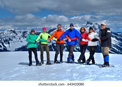 Group of friends in mountains having fun. Banff National Park in Rocky Mountains.  Alberta. Calgary. Canada.