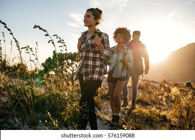 Group of friends on country walk on a summer day. Young people hiking in countryside.