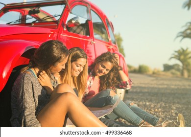 Group of friends on a roadtrip through countryside