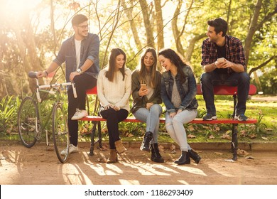Group of friends in the park having fun together