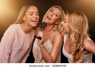 Group of friends partying in a karaoke club