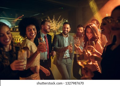 Group of friends partying at the nightclub