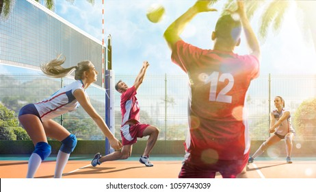 Group of friends is playing voleyball at sunny day