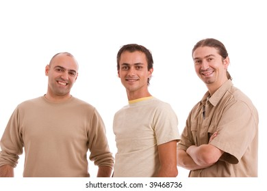Group of friends, posing isolated over white