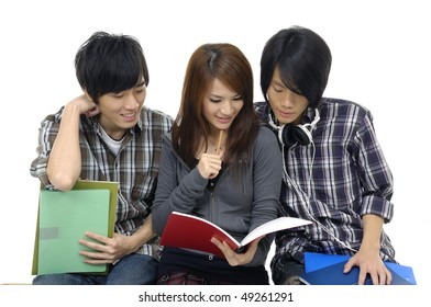 group of friends reading a book. Isolated