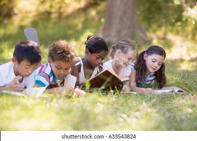 Group of friends reading book while lying on grassy field at campsite