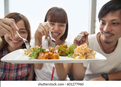 Group of friends sharing a meal