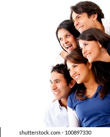Group of friends smiling and looking away - isolated