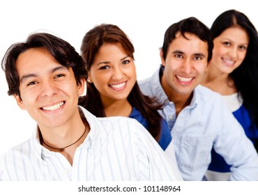 Group of friends smiling together - isolated over white