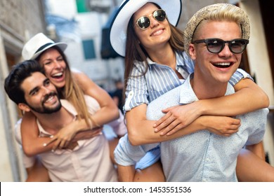 Group of friends spending quality time together in city