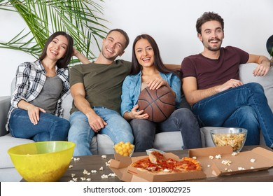 Group of friends sport fans watching basketball game time together