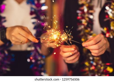 Group of friends staff party celebrate new year Christmas party. Meeting Club birthday cheer concert dancing confetti.