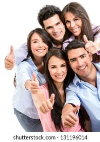 Group of friends with thumbs up - isolated over white