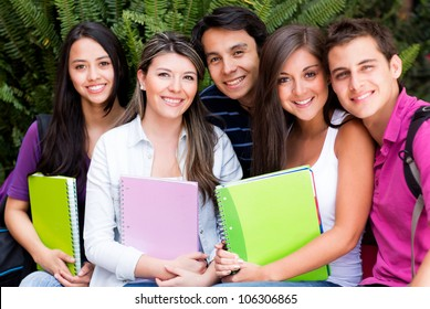 Group of friends at uni looking happy