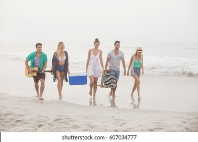 Group of friends walking on the beach with cooler box, guitar and armchair