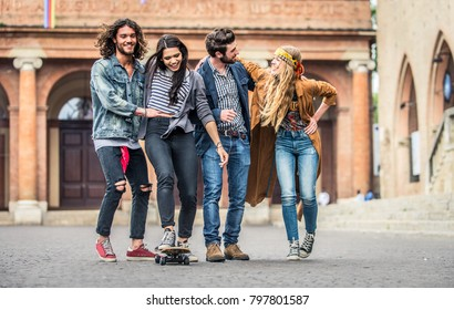 Group of friends walking on the streets