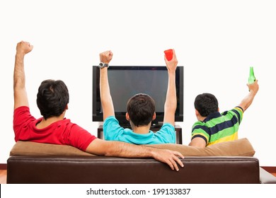 Group of friends watching Sports on TV: blank space on TV