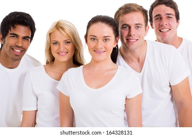 group of friends wearing white t-shirts on white background
