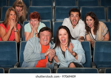 Group of frightened people screaming out in fear