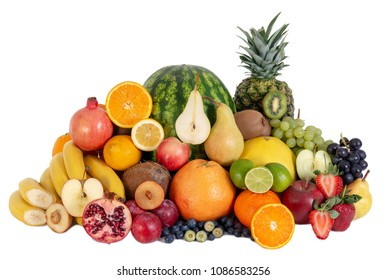 Group of fruits isolated, vegetarian