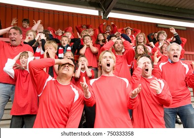 Group of frustrated football supporters
