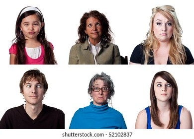 Group of full size images of funny faces