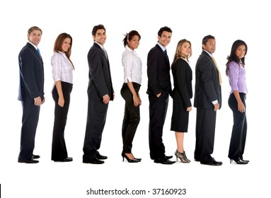 Group of fullbody business people lined up isolated