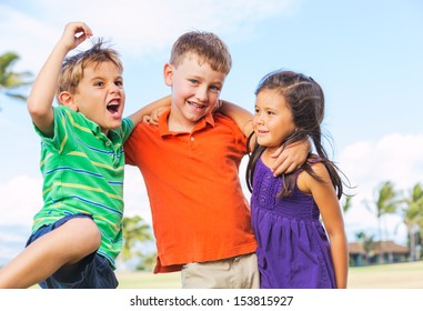 Group of Funny kids are playing outside