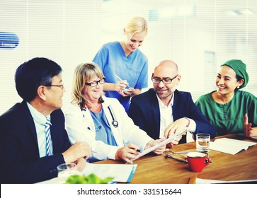 Group of general practitioners having a meeting.