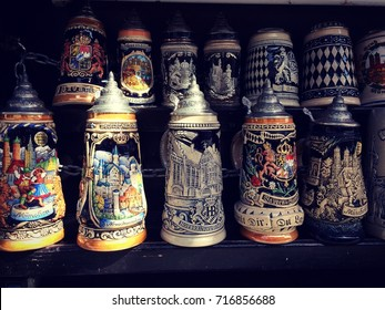 Group of German beer steins