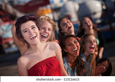 Group of girls hanging out and laughing together