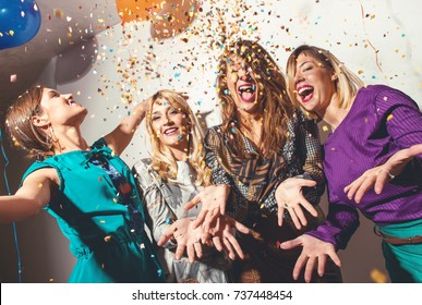 Group of girls having a party