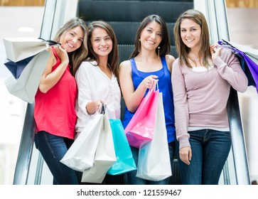 Group of girls at the shopping center